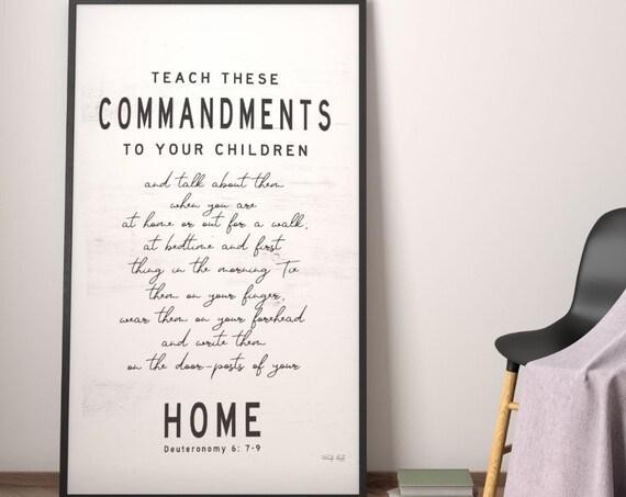 Scripture Wall Decor | Deuteronomy 6 Print | living room decor| bible verse sign | Commandments Poster | bible verse Print