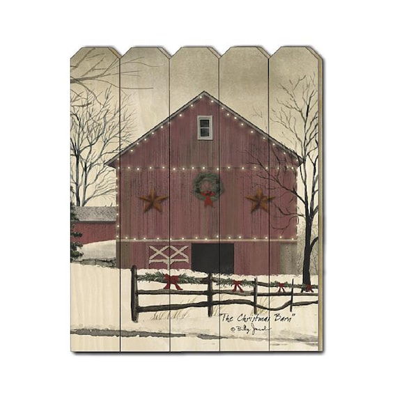 The Christmas Barn Sign - Red Barn Sign - Billy Jacobs Sign - Primitive Wood Sign - Wood Pallet Sign - Wood Sign