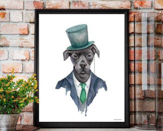 Dog Print -Dapper Dog Print - Dog art print - Dog in top hat and suit print, Dogs in clothes - Dapper animals