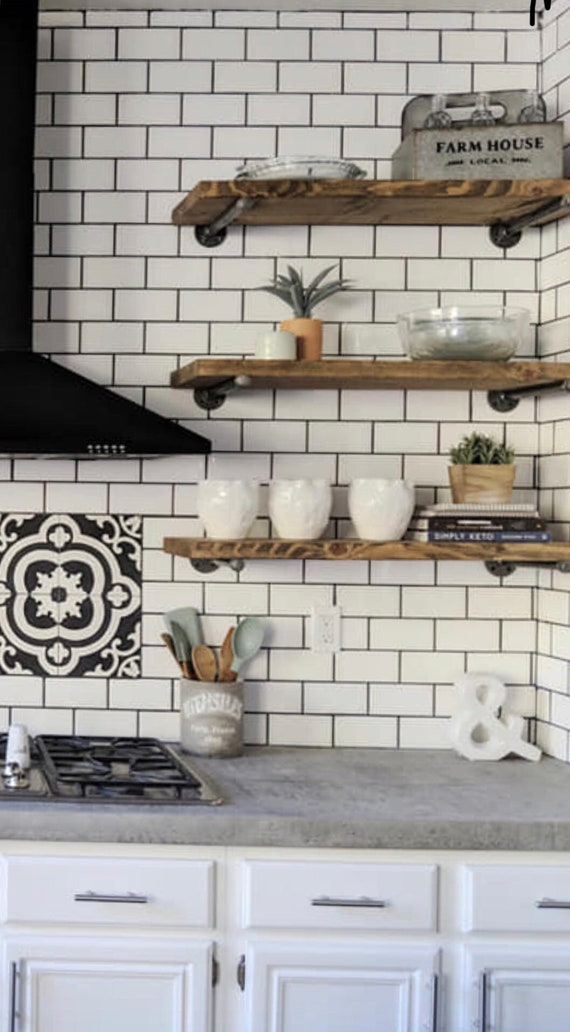 Farmhouse Floating Shelves-Kitchen Shelves-Floating Kitchen Shelf