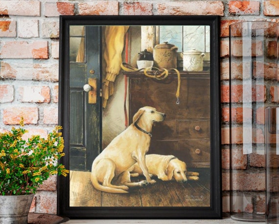 Dog Print - Yellow Labrador Retriever Print - Yellow Lab - Patiently Waiting - Pet lover gift - dog lover gift - pet room decor