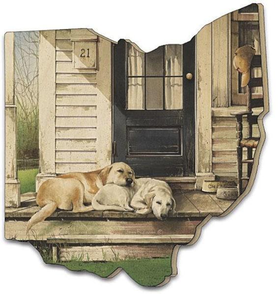 Labrador Retriever Dog Sign - Farmhouse Dog Sign - Wooden Ohio Sign - Chase and Molly Dog Sign - Ohio sign - Ohio Wood Sign-Ohio cutout sign