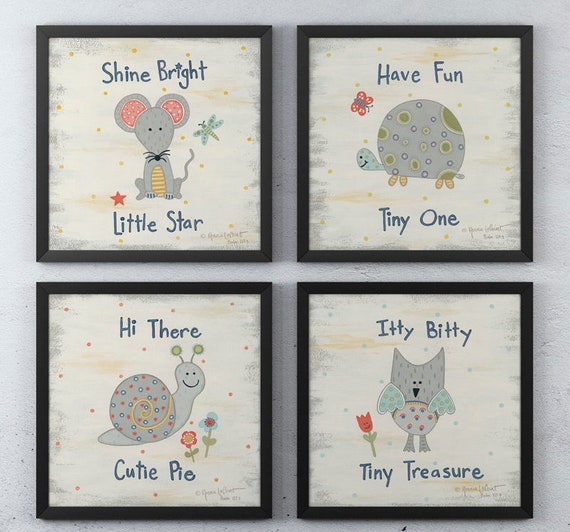 Set of four Prints Art  - Inspirational Animal Print Set - Girls Bedroom Decor -  Baby Girl Nursery Room  -  Girls Nursery - Nursery Quotes