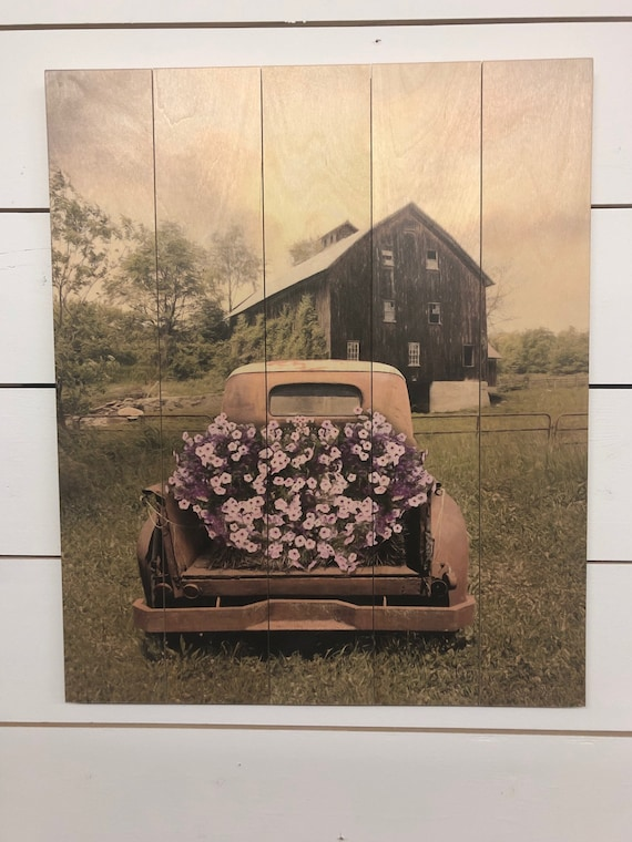 Vintage Truck Sign - Wood Flower Art - Dining Room Wall Art - Pallet Wood Sign - Pallet Wall Decor - Wood Pallet Art - Wood Pallet Sign