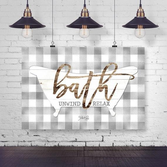 Buffalo Plaid Bath Print | Bathroom Wall Decor | Rustic Bathroom | Bathroom Art | Bathroom Prints | Farmhouse Bathroom | Farmhouse decor