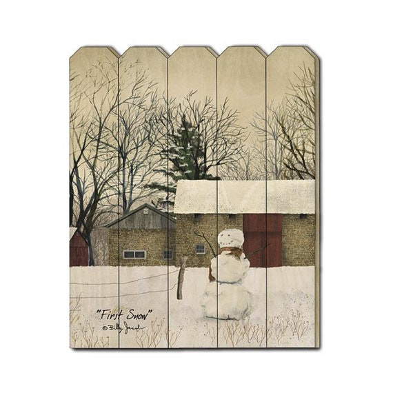 First Snow Sign - Christmas Sign - Billy Jacobs Sign - Snowman Sign - Primitive Wood Sign - Wood Pallet Sign - Wood Sign