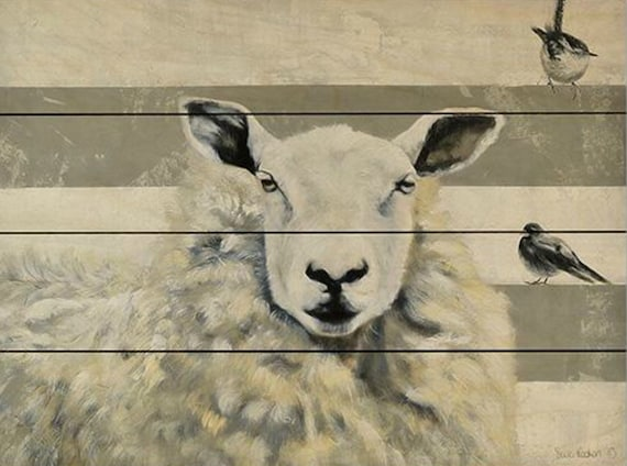 Sheep Painting-Sheep Sign-Farm Animals Art-Sheep Nursery-Wood Sign-Pallet Sign