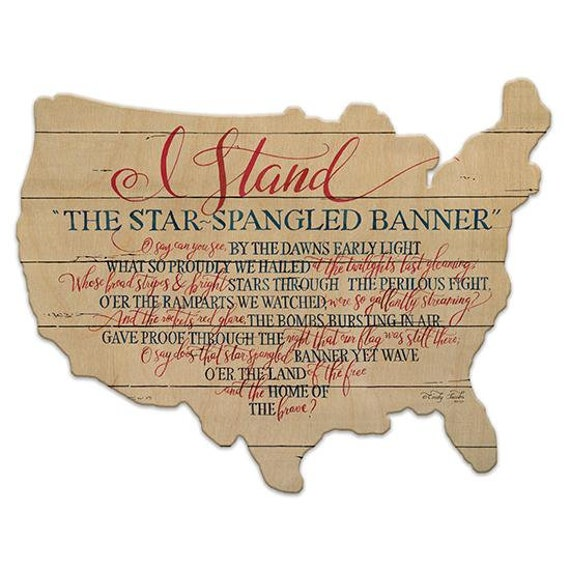 Star Spangled Banner Sign - America Sign - Wooden USA Sign - America Sign - USA Wooden sign - USAWood Sign - American Flag - Usa wood