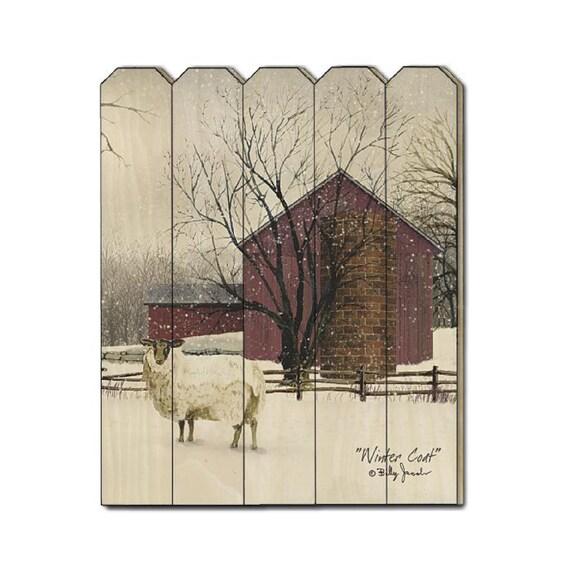 Winter Coat Sign - Billy Jacobs Sign - Primitive Wood Sign - Wood Pallet Sign - Wood Sign - Sheep Sign