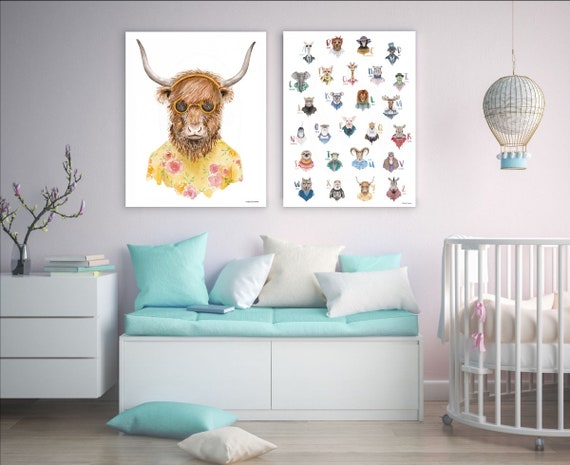 Set of Two Prints Art -Hipster Cow in Sunglasses, Animal Alphabet Poster Wall Decor, Modern design interior decoration, Nursery Decor