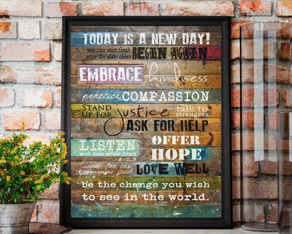 "Today Is A New Day Art- Inspirational Wall Decor - Marla Rae - Today Is - Today Is A New Day - Inspirational - 12""Wx16""H"