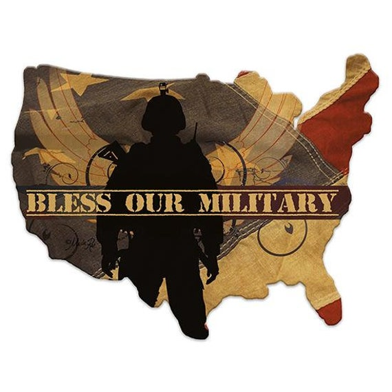 Bless Our Military Sign  - America Sign - Wooden USA Sign - America Sign - USA Wooden sign - USAWood Sign - American Flag - Military Sign