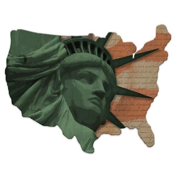 Statue of Liberty Sign - Wooden USA Sign - America Sign - USA Wooden sign - USAWood Sign - American Flag and Eagle Sign - Usa wood cutout