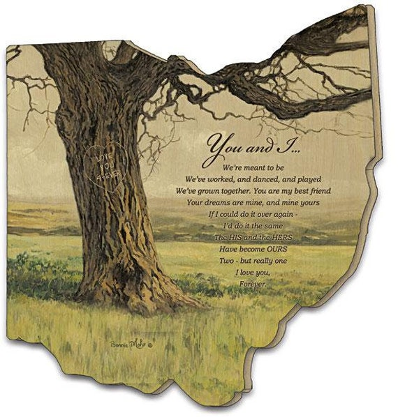 You and I Wedding sign - Wedding Gift Ohio - Farm Wall Hanging - Magnolia Inspired - Romantic Gift - Ohio wood cutout - Ohio cutout sign