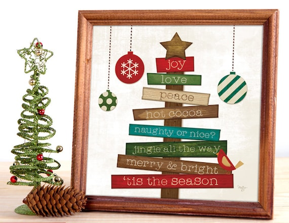 Christmas tree Sentiments - Wood Christmas Tree Sign - Primitive Tree Print - Christmas Tree Inspirations