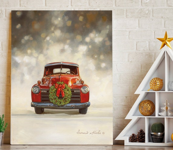 Vintage Christmas Red Truck Tree Print  | Christmas Red Truck Print  | Red Truck | Merry Christmas SIGN | Home Decor