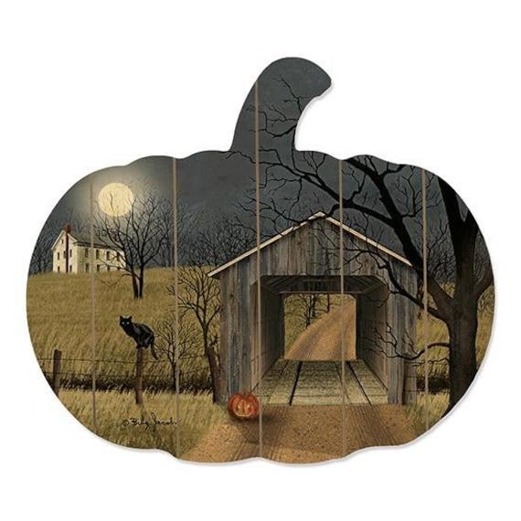 Sleepy Hollow Bridge wood pumpkin Sign - Billy Jacobs Art - Pumpkin Decor- Rustic Fall Decor -  Farmhouse Style- Farmhouse Fall Decor