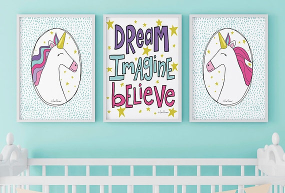Unicorn Girls Room Decor - Unicorn Wall Art - Unicorn Bedroom Decor for Girls - Unicorn Decor - Set of 3 Unicorn Prints
