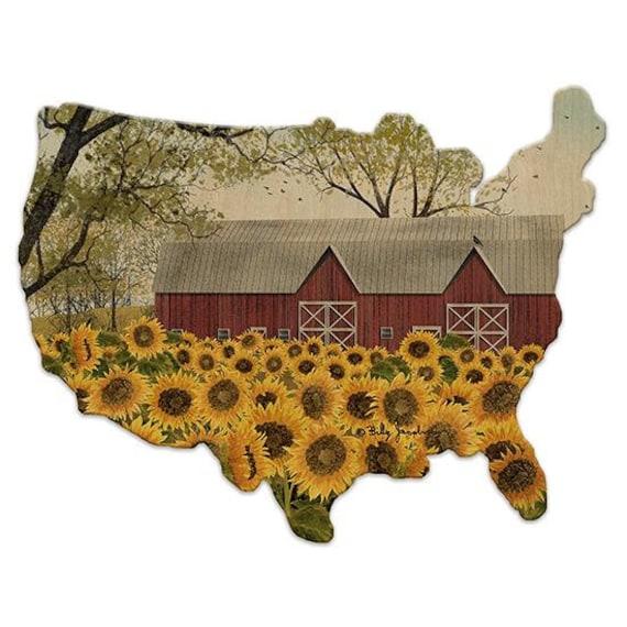 Sunshine Sun flower Sign - Billy Jacobs- Sunflower Sign - America Sign - Wooden USA Sign - America Sign-USA Wooden sign- American Flag