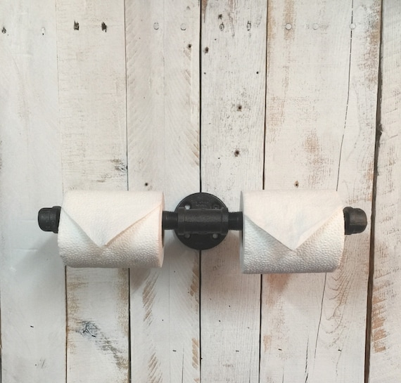 Farmhouse bathroom decor-TP holder-Bathroom Fixture-Double Roll Holder-Toilet Paper Roll-Industrial Bathroom