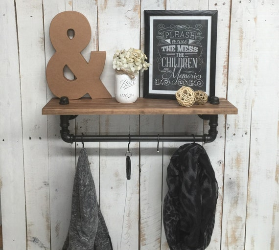 Farmhouse Shelf-Coat Rack Wall Mount-Entryway Coat Hooks-Farmhouse Entryway-Inudustrial Farmhouse-Wall Coat Rack