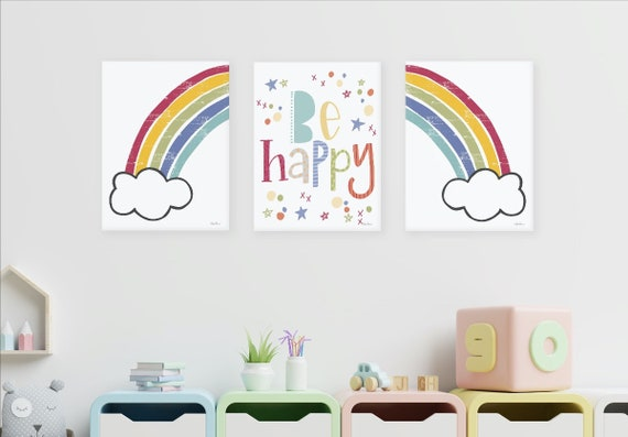 Set of three Prints Art -Be Happy Rainbow Prints - Rainbow Art Prints  - Girls Bedroom Decor - Large Poster -  Baby Girl Nursery Room