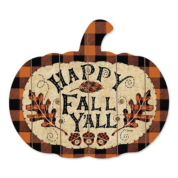 Happy Fall Y'all-Rustic Pumpkin cutout Sign- Pumpkin Decor- Rustic Fall Decor- Autumn Decor- Farmhouse Style- Farmhouse Fall Decor