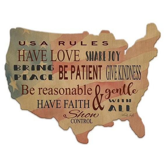 USA Rules Sign - America Sign - Wooden USA Sign - America Sign - USA Wooden sign - USAWood Sign - American Flag-Usa wood cutout