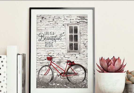 Cycling motivational print poster - Life is a beautiful ride - Bicycle Print - Red Bicycle Print