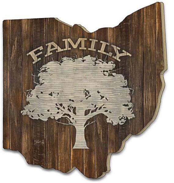 Family Tree Sign - Marla Rae Sign - Ohio sign - Ohio Wood Sign - Wood Family Tree Sign - Ohio Wooden cutout - Ohio cutout sign -Ohio Artwork