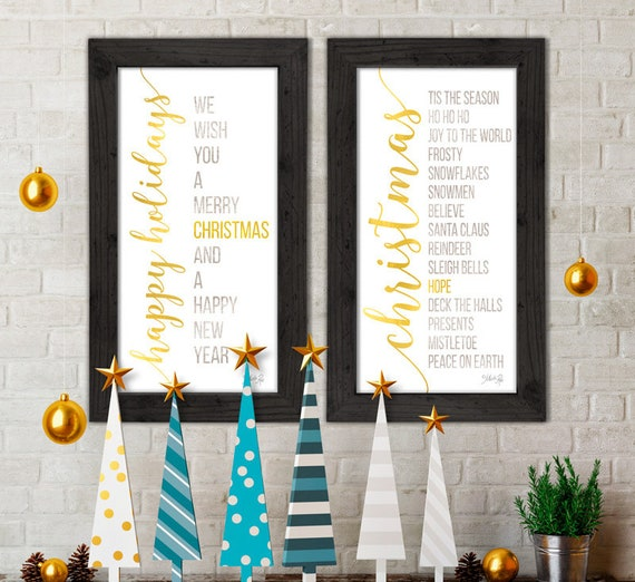 Set of 2 Christmas Signs -  Large Merry Christmas Signs - Merry Christmas Signs - Merry Christmas and Happy Holidays - Farmhouse Christmas