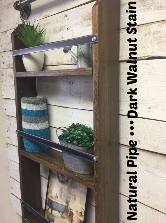 Rustic ladder shelf-Pipe Furniture-Dining Room Shelf-Farmhouse  Distressed-industrial farmhouse-farmhouse shelf-farmhouse shelves