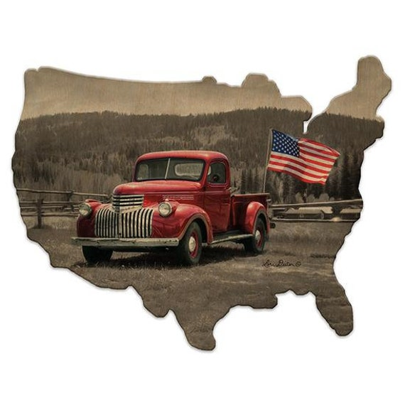 Red Truck Hot Rod Wood Sign - Hot Rod Sign - America Sign - Wooden USA Sign - America Sign - USA Wooden sign - USAWood Sign - American Flag