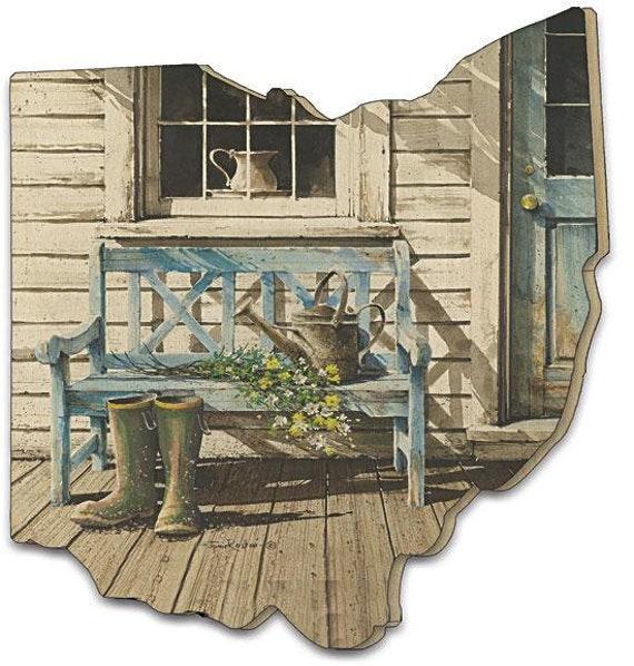 Cheerful Chores Sign - Ohio sign - Ohio Wood Sign - Wood Ohio Artwork - Ohio Wooden cutout sign - Ohio Wood cutout