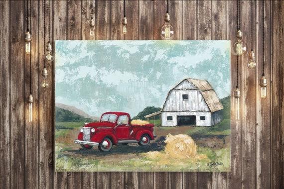 White Barn Red Truck Print - Barn, White, Red truck Print, Modern Farmhouse Decor, Country, White Barn
