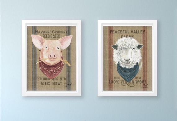Set of Two Farm Animal Prints - Farmhouse Print - Pig and Sheep Wall Art - Animal Print - Wall Decor - Modern Farmhouse,