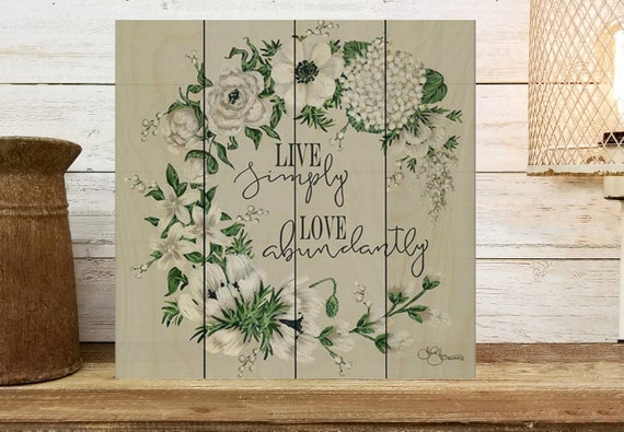 Live Simply Sign | Floral Wreath Sign | wood sign for table or desk decor | Live Simply Wall Art | Live Simply sign