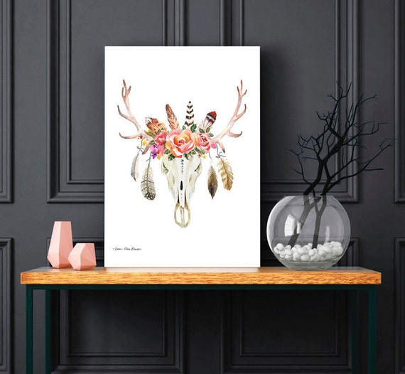 Boho Floral Feather Animal Skull Print | Western Print | Modern Art | Boho Decor | Southwestern Prints | Desert Art | Minimalist Print