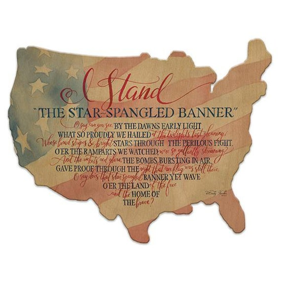 Star Spangled Banner Sign - America Sign - Wooden USA Sign - America Sign - USA Wooden sign - USAWood Sign - American Flag - Usa cutout