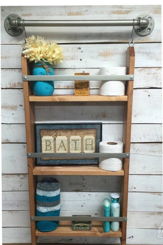 Wood Ladder-Wooden Wall Shelves-Wood Bathroom Shelf-Ladder