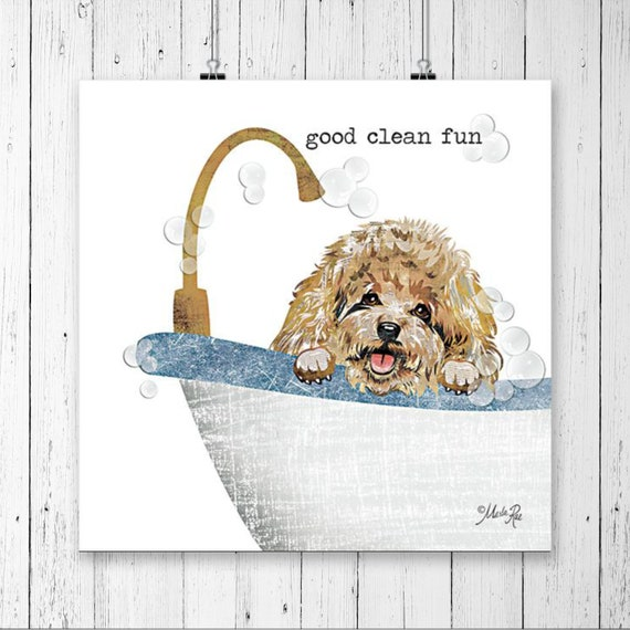 Good Clean Fun Bathroom Poster | Bathroom Wall Decor | Rustic Bathroom | Funny Bathroom Signs |Dog Print |Bathroom Prints | Paw Prints