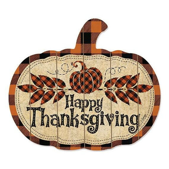 Happy Thanksgiving wood pumpkin Sign- Rustic Pumpkin Sign- Pumpkin Decor- Rustic Fall Decor- Autumn Decor- Farmhouse Style