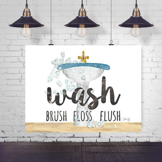 Wash Brush Floss Flush Paper Print - Funny Bathroom Print - Toilet Print - Bathroom Print - Toilet Paper Print - Funny Bathroom Quote