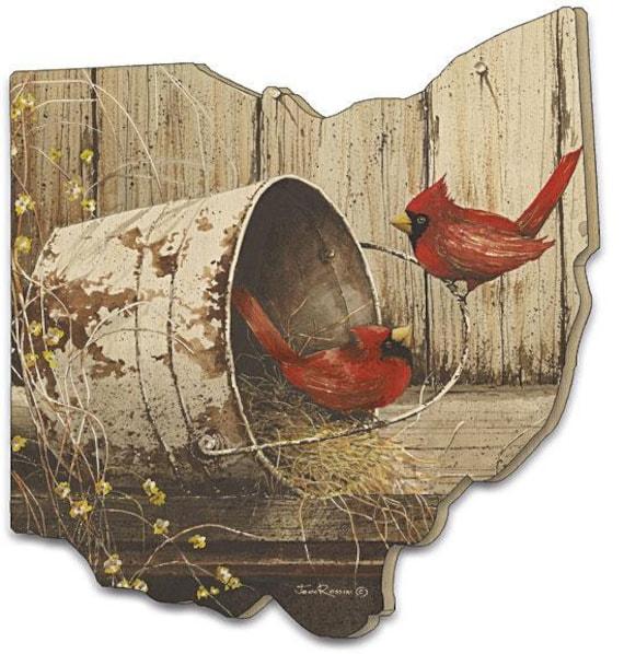 Red Cardinal Sign - Ohio Bird sign - Ohio Wood Sign - Playing Around Sign - Ohio Cardinal Sign - Ohio wood cutout sign - Ohio wooden cutout