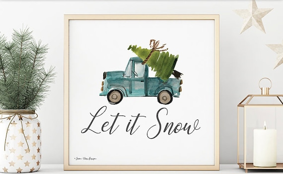 Let is Snow Christmas Blue Truck Tree Print  | Christmas Blue Truck Print  | Blue Truck | Merry Christmas Sign | Home Decor