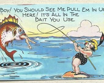 humor cartoon Washington fishing Postcard old paper ephemera funny junk journal girl in bathing suit DC old vintage craft supply