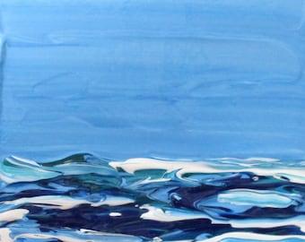 Original Abstract Acrylic Painting Seascape 4 x 4 Western Avenue Studios Massachusetts Artist Kathleen Daughan Essay on the Sea 819