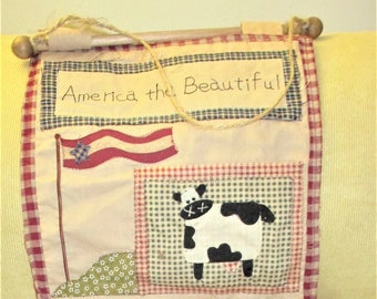 America The Beautiful Wall Hanging Folk Art Embroidery Primitive Handcrafted Art & Crafts Home Decor Wall Hanging Vintage Shabby Chic Decor