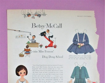 Vintage Betsy McCall Paper Dolls 1959 Magazine Ad Page Betsy Visits Ding Dong School Paper Ephemera Art Collectible DIY Scrapbooking Supply