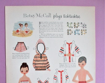 Vintage Betsy McCall Paper Dolls 1957 Magazine Ad Page Betsy Plays Tick Tack Toe Paper Ephemera Art Collectible DIY Scrapbooking Supply